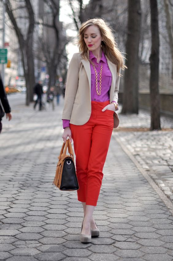 Uptown Girl in pink + red  I adore this.