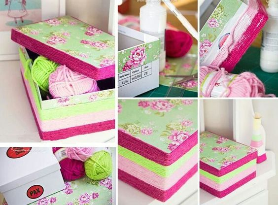 Tapas de la caja forrada con servilleta