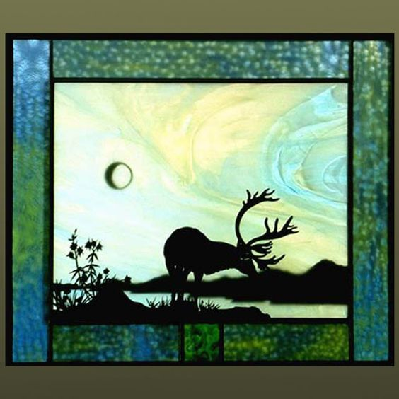 Anne Ryan Miller Caribou Mounds Stained Glass Art Stained Glass Art Glass Art Faux Stained Glass