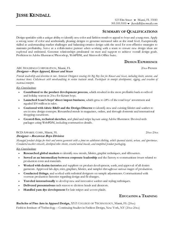 Fashion Resume Objective Sample -    jobresumesample 569 - fashion resume objective