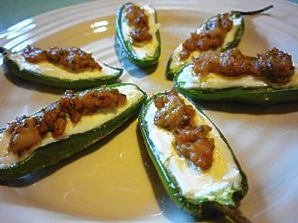Add a cheesy treat to your Bowl: Stuffed Jalapenos with Chorizo Sausage
