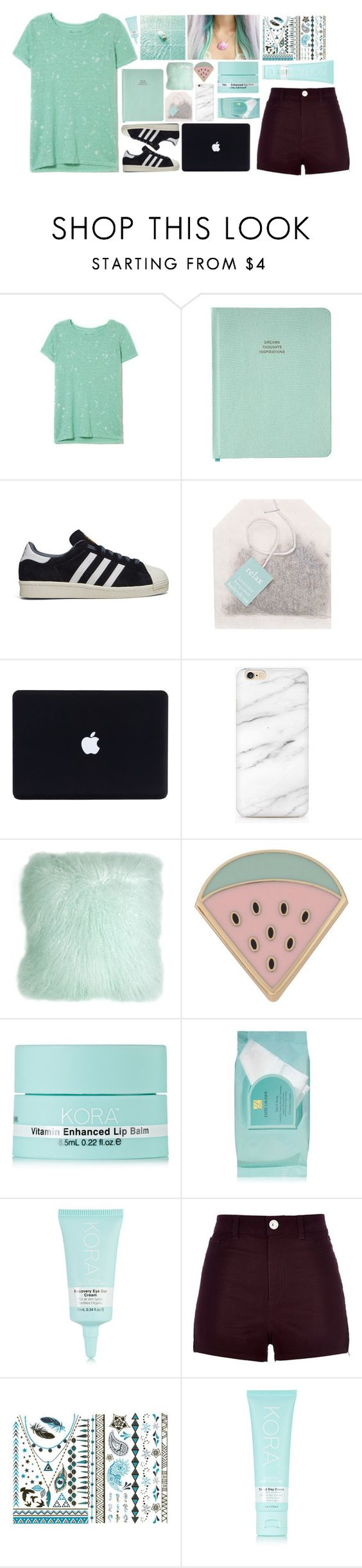 """""""if I was you, I'd wanna be me too"""" by grapefashion ❤ liked on Polyvore featuring adidas, Pillow Decor, Des Petits Hauts, KORA Organics by Miranda Kerr, Estée Lauder and River Island"""