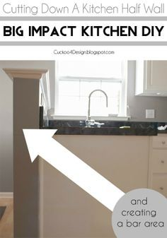 Cutting down a kitchen half wall and relocating outlets to create a kitchen bar area