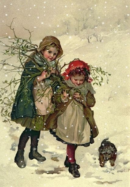 Carte ancienne de Noël - Lizzie Lawson (1867-1902)                                                                                                                                                                                 Plus: