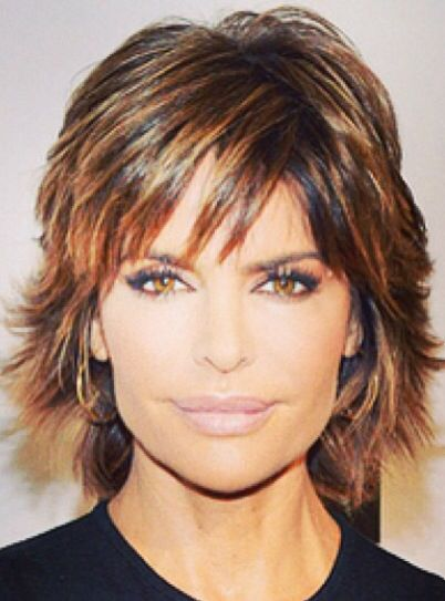Lisa Rinna I love her hair shorter or longer and she has thick, dark hair with a little flip just like mine.