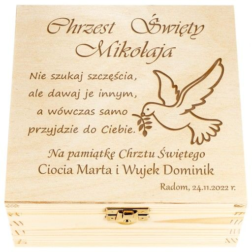 Pudelko Prezent Na Chrzest Swiety Grawer Upominek 8566685232 Allegro Pl Place Card Holders Cards Place Cards