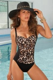 Animal-print sweetheart maillot in Sport 2013 from Boston Proper on shop.CatalogSpree.com, my personal digital mall.