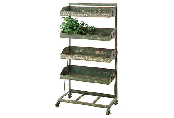 4-Tiered Metal Stand, Green on OneKingsLane.com Show barn tack room supply shelf!!