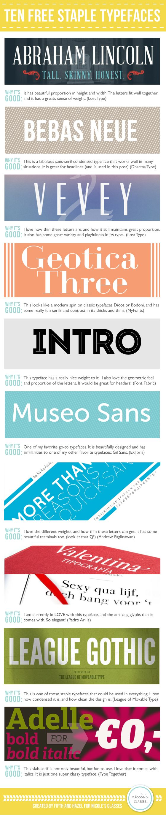 10 Free Staple Typefaces (Fonts) | | Nicoles ClassesNicoles Classes