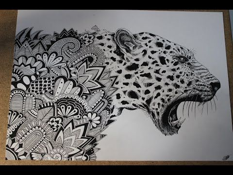 Speed Drawing Zentangle Leopard Youtube Animal Stencil Mandala Design Art Zentangle Animals