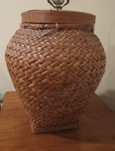 Woven Basket Lamp : Vintage hand woven wicker rattan japanese chinese jar