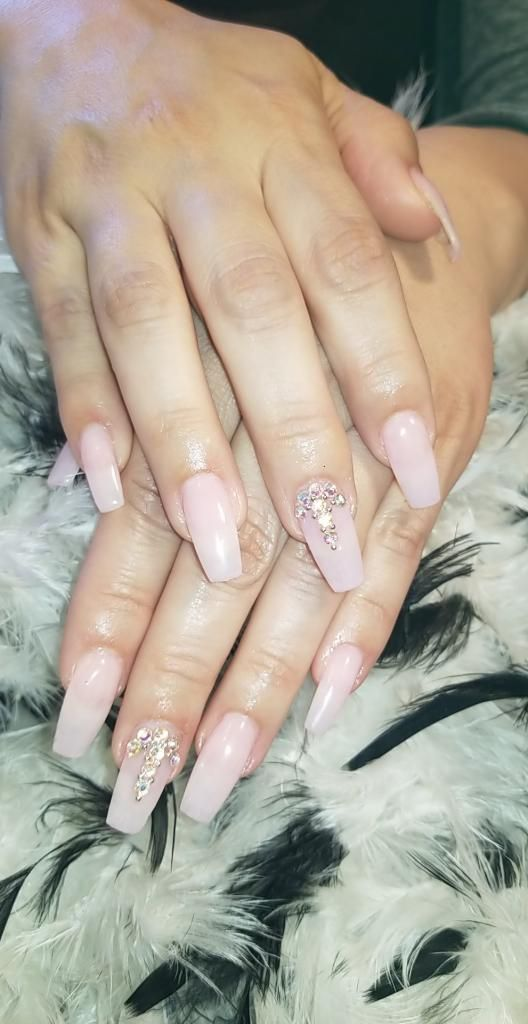 Light Gel Natural Pink Coffin Nails With Diamonds Diamond Nails Coffin Nails Pink Acrylic Nails