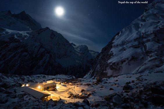 Machhaphuchhre Base Camp at night, Annapurna Region  www.riverholidaysnepal.com