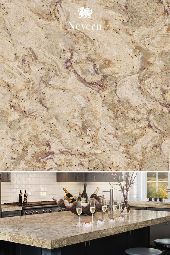 Taupe meets sweet shades of berry in our Nevern™ design. Our classic quartz designs are resilient enough for any room.