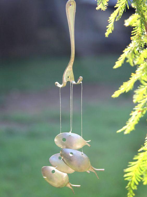 Minnow sized spoon fish windchimes guppy tadpole fish for Fish wind chimes