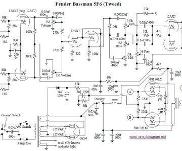 Fender Bassman 5f6 A Tube Amplifier Fender Electronic Circuit Projects Amplifier