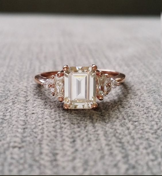"£1,564.77 - Antique Moissanite and Diamond Engagement Ring Emerald Cut Baguette Flower Classic Rose Gold timeless PenelliBelle Exclusive ""The Margo"""