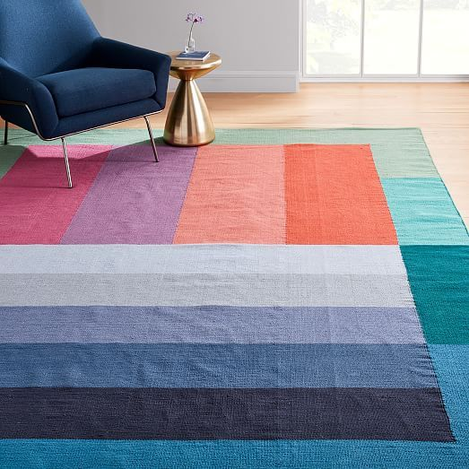 Margo Selby Stripe Block Rug In 2020 Margo Selby Square Rugs Rugs