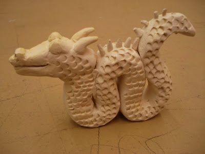 Clay Chinese dragons: texture and attaching clay.: