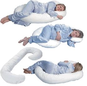 Snoogle Pregnancy Pillow!! Makes sleeping more comfortable.