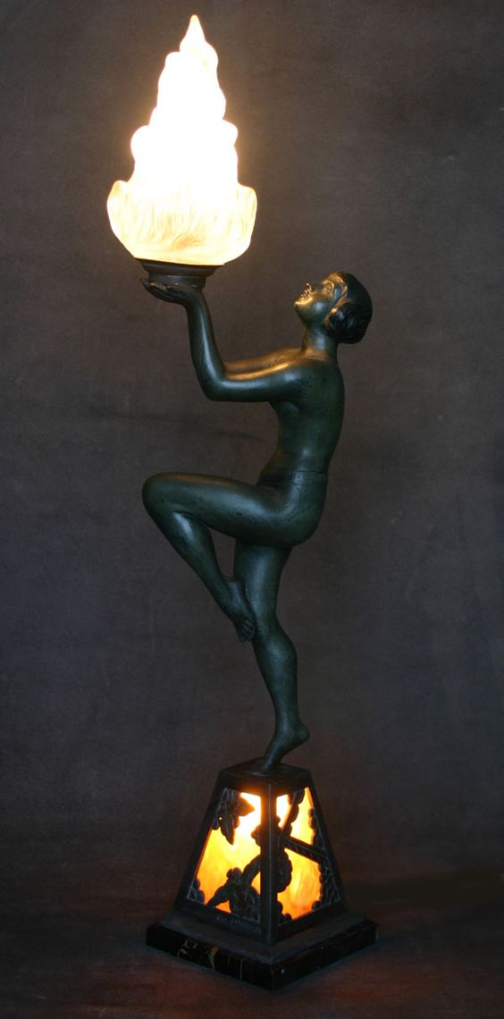 """A rare art deco spelter lamp, circa 1920's, France  """"Temple Dancer"""" by Limousin"""