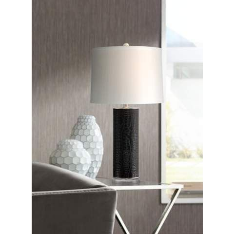 Simone Black Faux Croc Table Lamp - #7F856 | LampsPlus.com