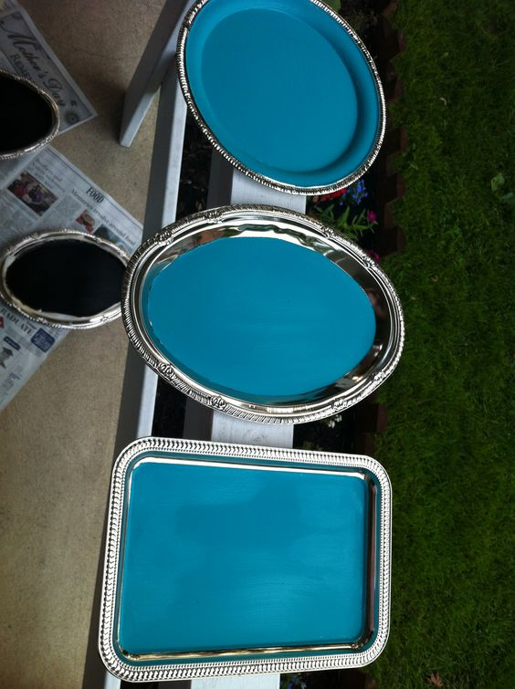 """made chalkboard paint and painted these dollar tree tin trays for """"reserved"""" signs for the tables where family sat."""