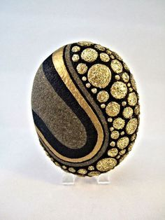 Unique 3D Art Object OOAK Painted Rock Black Gold by IshiGallery