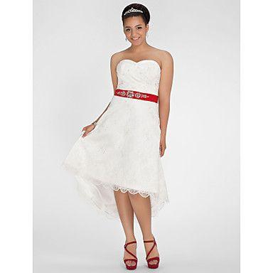 Vestido de Noiva Trapézio/Princesa Coração/Sem Alças Longuete/Assimétrico/Mullet (Renda) – CAD $ 199.49