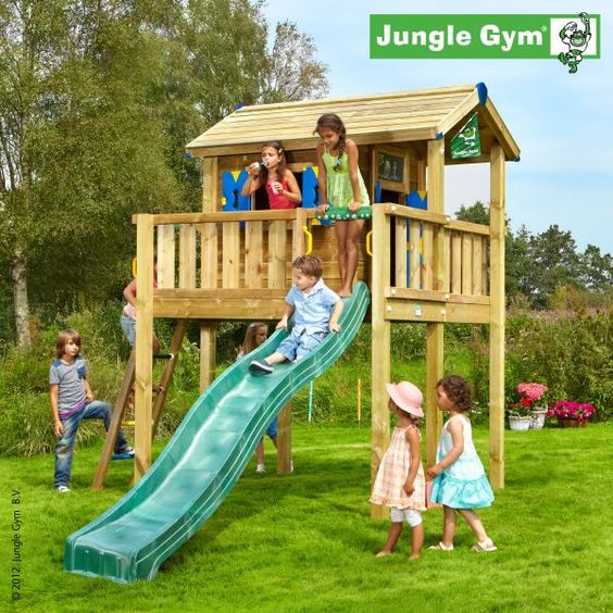 Jungle gym playhouses wooden play houses for children for Wooden jungle gym plans