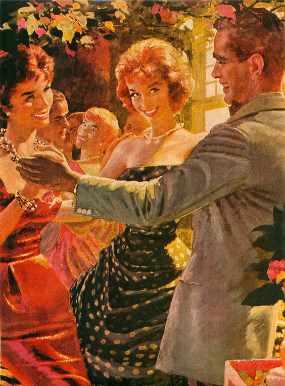 """The painting appeared with the story """"The Trouble With Laury's Men"""" in Cosmopolitan magazine in June 1959."""