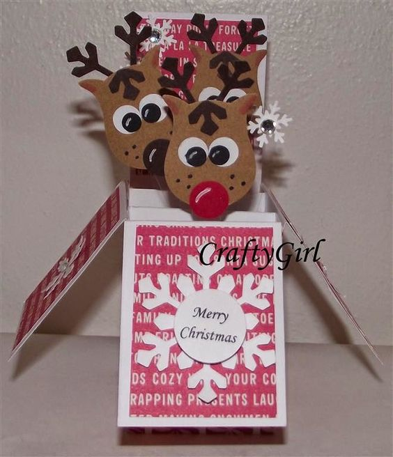 "CraftyGirl Cards and Crafts: ""Reindeer"" Pop Up Christmas Box Cards:"