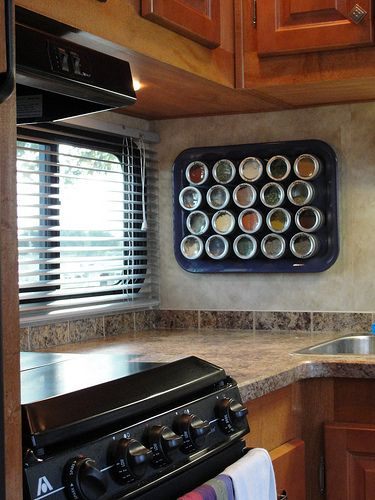 Spice Rack, metal tray with magnetic tins from Bed, Bath & Beyond