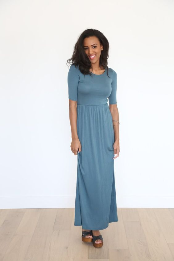 The Fall Empire Dress in Teal