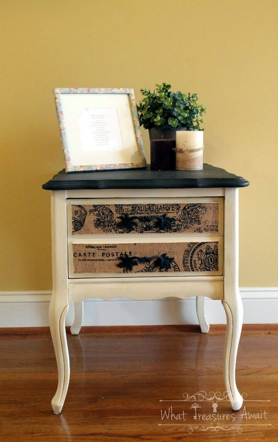 Burlap Bedside Table Makeover - by What Treasures Await