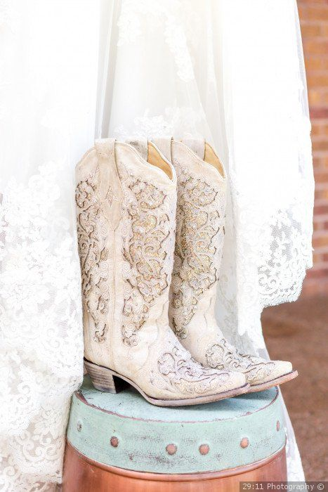 Glam cowboy boots for a bride - wedding