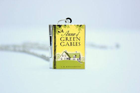 Anne of Green Gables by LM Montgomery Book Cover Locket Charm Necklace / Bracelet / Keyring Jewelry / Jewellery with Bookworm Library Card