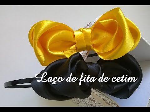 Tiara com laço de fita de cetim diy \ Tiara with lace satin ribbon diy - YouTube