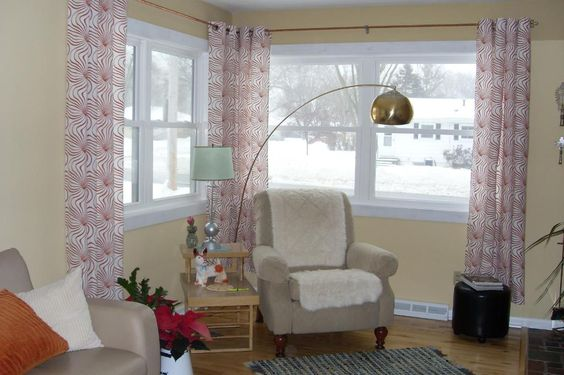 corner window treatments hanging curtains