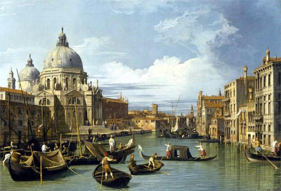 """Giovanni Antonio Canal (""""Canaletto"""", Italian, 1697-1768)  The Grand Canal and the Church of the Salute  1730  MFA, Houston"""