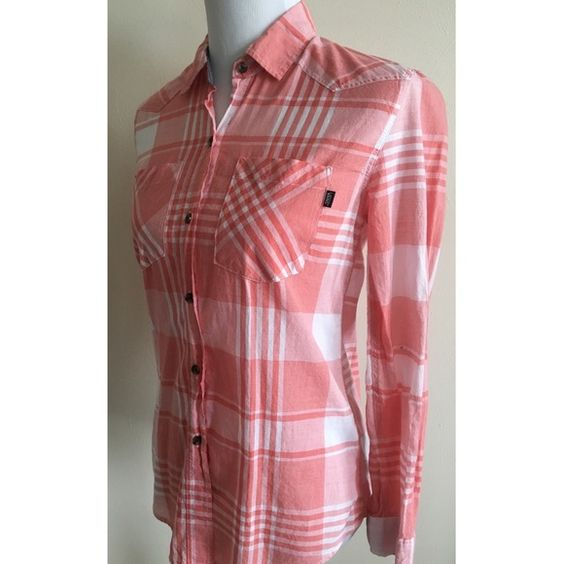 Vans Picnic Buttoned Long Sleeve Shirt • Size Small • Light Red and White Plaid/Gingham • Cotton / Polyester • Lightweight • Care tags cut for comfort  • Like New Condition! Vans Tops Button Down Shirts