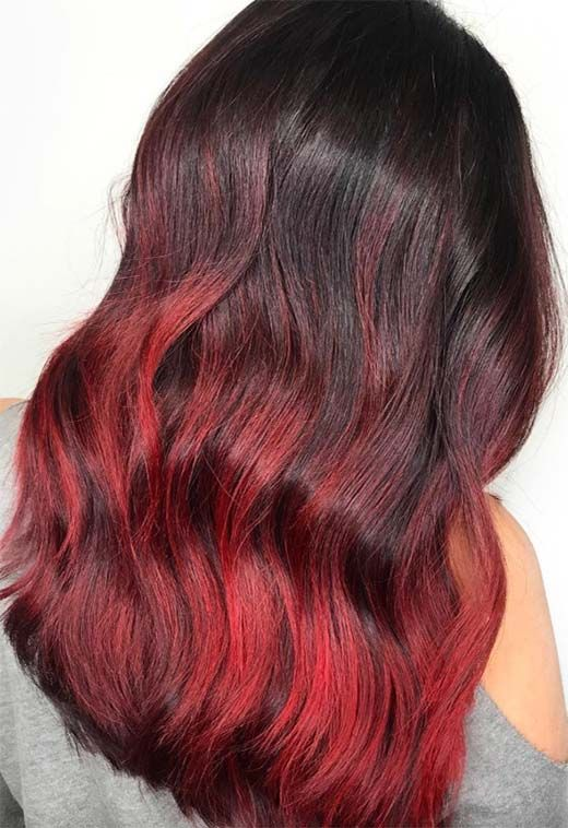 Hot Style Women Hair Cool Color Highlights Hair Dye Tips Dyed Red Hair Red Hair Color Shades