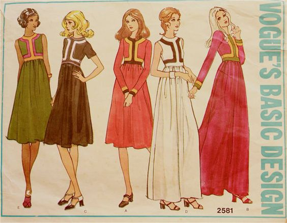 Dress or Maxi, Color Block- 1970's - Vogue Americana Pattern 2581  Size 12  Bust  34""