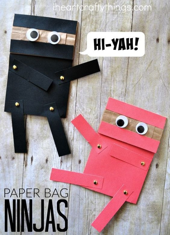 Do your kids love ninjas? They will adore this paper bag ninja craft that is a craft and puppet all in one. Have hours of fun with your ninja repositioning the arms and legs to make him kick, fight and block his opponent.: