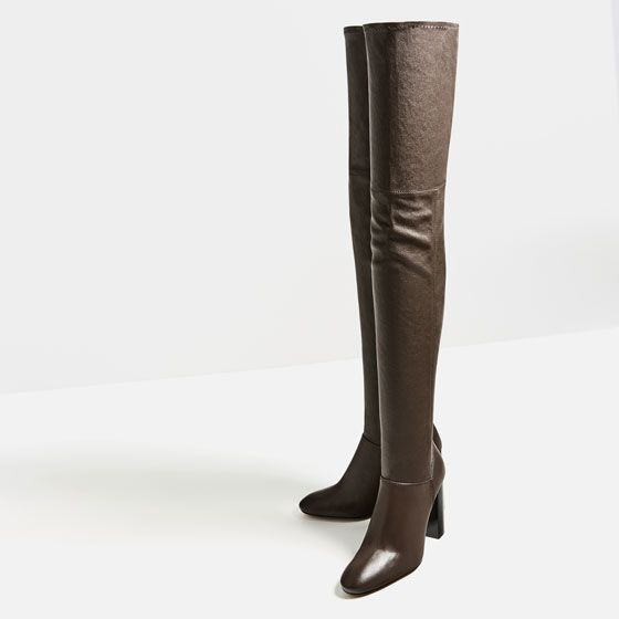 Image 4 of OVER-THE-KNEE HIGH HEEL LEATHER BOOTS from Zara | Zara