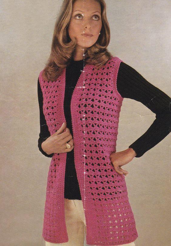 PDF vintage crochet patrón chaleco sin mangas por TheVintageWorkbox