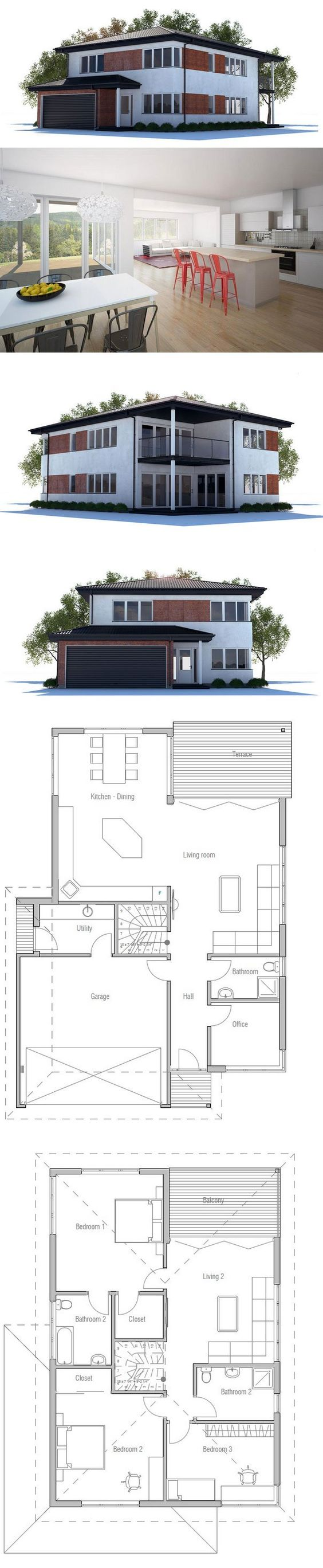 Modern house plan with large covered terrace and balcony for Big modern house plans