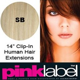 Clip In Hair Extensions Pink Label in 14 inch colour SB Light Blonde available at http://www.supermodelhair.com