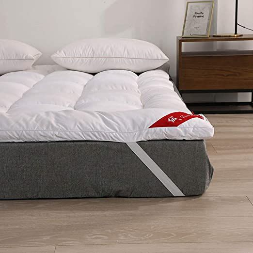 Miss Amp Yg Down Mattress Pads Down Filling Cotton Cover With Elastic Straps Down Mattress Topper Queen Matt In 2020 Queen Mattress Topper Down Pillows Bed Pillows