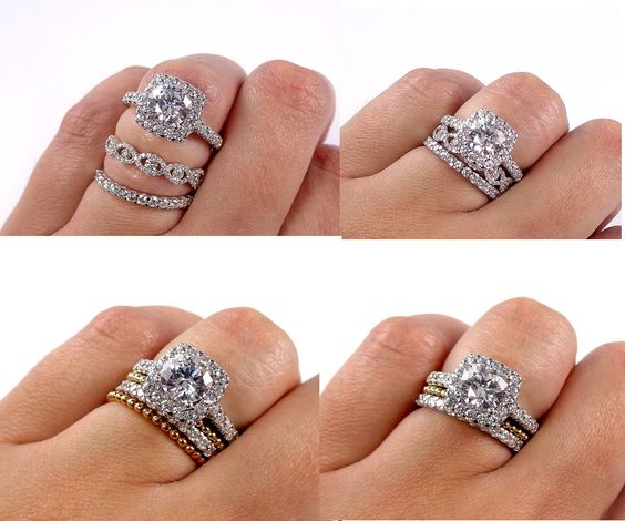 Cushion Halo With Round Cut Diamond in the center and great wedding band idea combinations.   Give a little twist on your wedding band combinations with your engagement ring. It does not need to match!  Like any of the rings? Visit us at www.bosjewelers.com